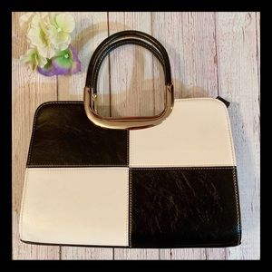 Black and White Metal Handled Purse